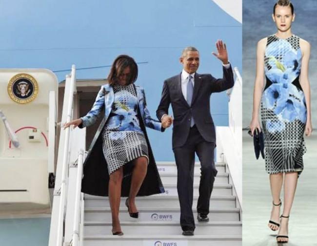 Michelle Obama arrives in Indian-American designer's creation